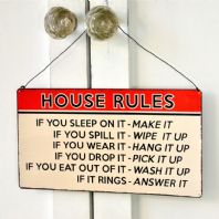 Retro Metal Sign - 'House Rules'